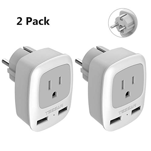 Type E/F Germany European Adapter 2 Pack, TESSAN Schuko France Travel Power Plug 2 USB, Outlet Adaptor Charger for USA to Most of Europe EU Spain Iceland Russia Korea Greece Norway