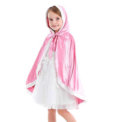 Tyidalin Capa de princesa para niños, niñas, disfraz de invierno, para cosplay, fiestas, Halloween, Navidad, Carnaval, con capucha Rosa. 104 cm-110 cm