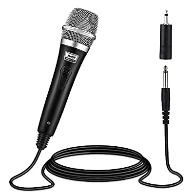 Moukey Dynamic Wired Karaoke Microphone Metal Handheld Mic with 13ft XLR Cable for Karaoke Singing, MWm-5 Black