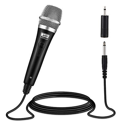 Moukey Microfono dinamico per karaoke per canto con cavo XLR da 13 ft, microfono portatile in metallo compatibile con macchina/altoparlante/amplificatore/mixer