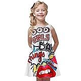 Arystk Girls Dress Toddler Summer Princess Dress Kids Baby Printing Party Sleeveless Dresses Red