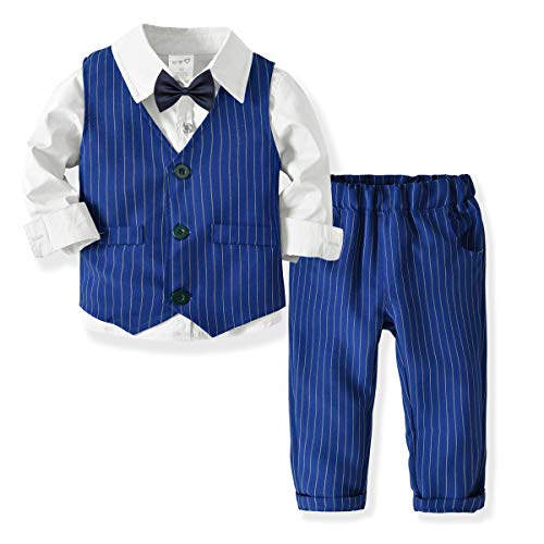 ZOEREA Baby Jungen Gentleman Suit Hemd Weste Hose mit Fliege Anzug für Party oder Fotoshooting Kleid Weiß,110