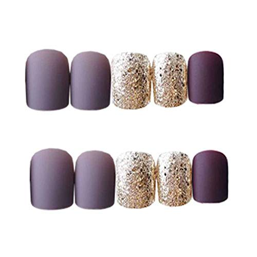Violet Gris/Or Faux Ongles Cover ongles artificiels Conseils Faux Ongles
