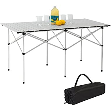 Best Choice Products 55in Portable Roll-Up Aluminum Camping Picnic Table w/Carrying Bag - Silver