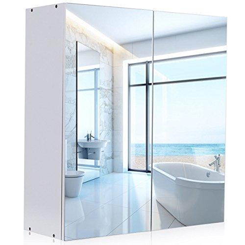 Mirror Cabinet, Waterjoy Wall-Mounted Bathroom Mirror Medicine Cabinet with Mirrored Doors and -