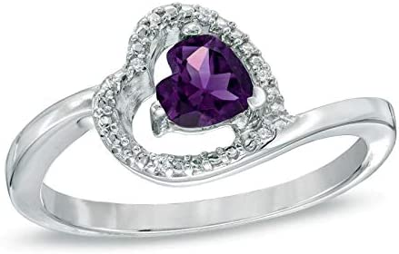5.0mm Dealing full price reduction Sideways Heart Shaped Amethyst CZ and Stone Color Diamond Trust