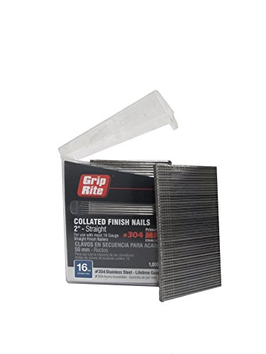 Grip Rite Prime Guard MAXB64873 16-Gauge 304-Stainless Steel Straight Finish Nails in Belt Clip Box (Pack of 1000), 2