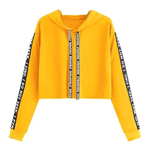 Allegorly T-Shirt Ado Fille à La Mode,Femmes à Manches Longues Sweat à Capuche Tops Chemisier Crop Blouse Pull Sweat Tops Pas Cher Chemisier Pullover Sweat Shirt Tee Shirt Robe