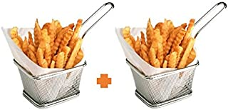 Stainless Steel Mini French Fries Basket Square Fryer Baskets, FDA Grade Kitchen Cooking Tool Food Presentation Tableware ...