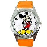 Reloj analógico de cuarzo con correa de piel auténtica naranja redondo para fanático de Mickey Mouse de TAPORT®