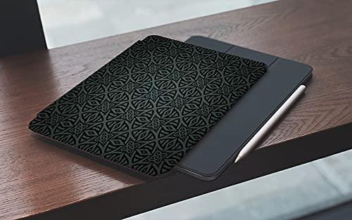 MEMETARO Funda para iPad (9,7 Pulgadas 2018/2017 Modelo), Adorno Folklórico Medieval Gris Oscuro Patrón Celta Estilo Vintage Círculos Florales Smart Leather Stand Cover with Auto Wake/Sleep