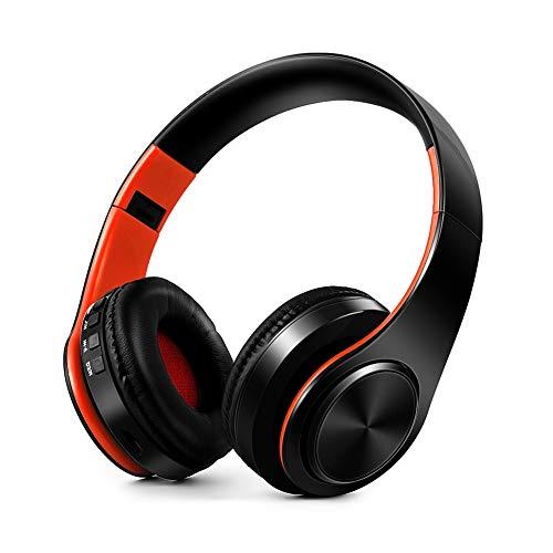 JVSISM Auriculares InaláMbricos PortáTiles Auriculares Plegables EstéReo de Alta Fidelidad Auriculares Ajustables de Audio MP3 con MicróFono - Naranja