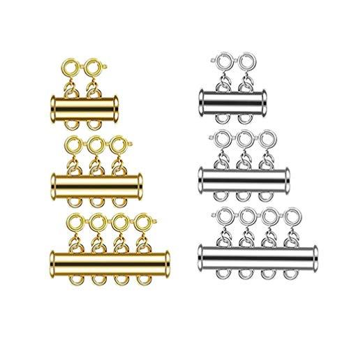 SUPVOX 6 Piezas Cierres de Cierre Magnético Collares Deslizantes de Múltiples Hilos Conectores de Pulsera Cierres de Tubo para Joyería Artesanal Diy Fabricación de Oro Plateado