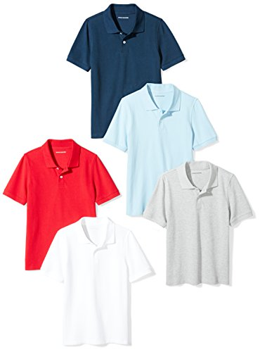 S Royal Blue//Space Dye Grey 6//7 Essentials Little Boys 2-Pack Performance Polo