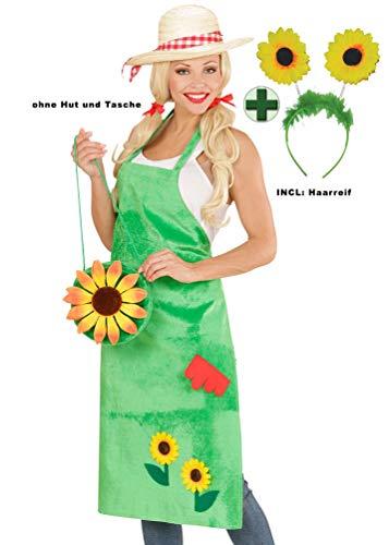 Karneval-Klamotten Gärtnerschürze Karneval Gärtnerin Damen Kostüm Haarreif Blumen Einheitsgröße