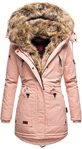 Navahoo warme Damen Winter Jacke Parka lang Mantel Winterjacke Fell Kragen B380 [B380-Daria-Rosa-Gr.M]