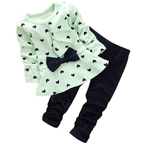 Longra Ensembles de Bébé en Forme de Coeur Imprimé Bow Cute Kids Set T-Shirt + Pantalons (6-12M, Vert)