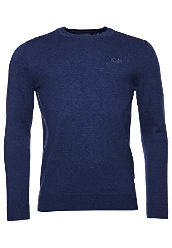 Superdry Mens ORANGE Label Crew Pullover Sweater, Pilot Mid Blue Marl, L