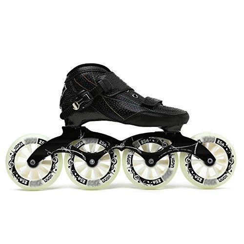 SSCYHT Schlittschuhe, Inline-Schlittschuhe, Erwachsene Einreihige Anfängersportarten für Männer und Frauen Carbon-Profi-Rollschuhe,Schwarz,40