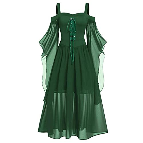 GFGHH Vestido largo gótico medieval para mujer, con mangas de mariposa, para cosplay, disfraz de Halloween, estilo vintage, sin hombros, asimétrico, para carnaval o fiestas, verde, 3XL chiquita