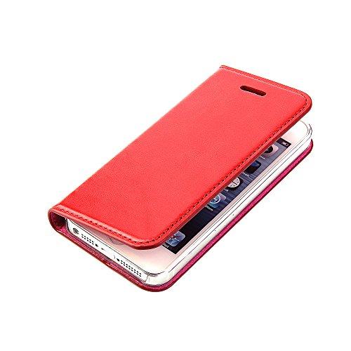 Wormcase ® Handytasche kompatibel mit iPhone 5-5S-SE – ECHTLEDERHÜLLE - KARTENFACH – MAGNETVERSCHLUSS – Farbe Rot - Case Echt-Leder-Tasche-Hülle-Case Etui Flip Schutz-huelle Echtes-leder