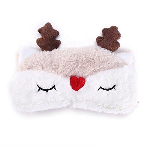 Masque pour les yeux endormi, Couverture d'oeil de forme animale mignonne Masque de sommeil doux Cerf de Noël Masque d'ombrage pour les yeux Détendez vos yeux(Renne)
