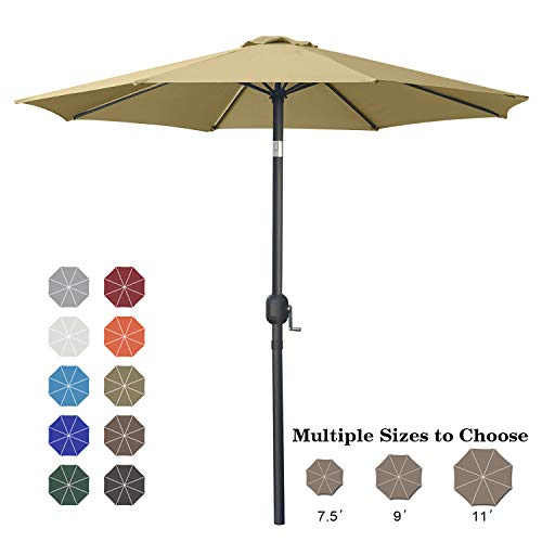 ABCCANOPY 230cm Sonnenschirm im Freien Wasserabweisende Bespannung -Gartenschirm Marktschirm,Khaki