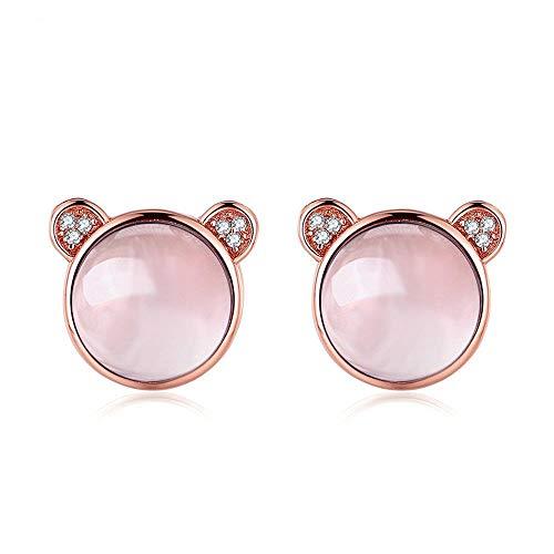 NOBRAND Pendientes De Mujer Pendientes De Piedras Preciosas Naturales De Cuarzo Rosa 925 Pendientes De Joyería De Plata