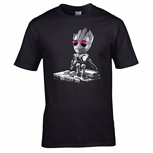 UKPrintwear DJ Baby Groot Mixing Deck + Lunettes de soleil T-shirt - Noir - XXXX-Large