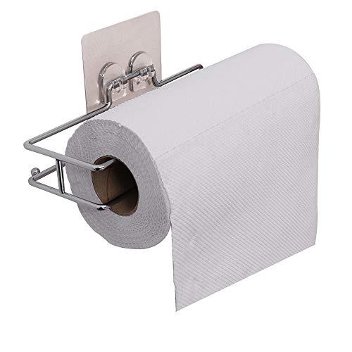 Support de rouleau de papier sans trous, sans vis Distributeur autocollant mural, repositionnable, lavable, porte-torchon (pour rouleaux de papier de largeur jusqu'à 28 cm)