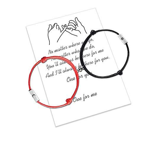 2 uds pulseras a juego de atracción mutua magnética pulseras de pareja de cuerda de cera hechas a mano regalo de novia de novio adolescente (2pcs Black and Red)