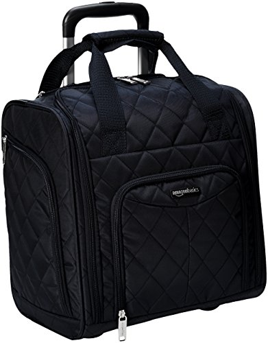 AmazonBasics Underseat Carry-On Rolling Travel Luggage Bag, 14 Inches, Black Quilted