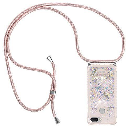 Ptny Case Funda Colgante movil con Cuerda para Colgar Xiaomi Redmi 6A Carcasa Correa Transparente de TPU con Cordon para Llevar en el Cuello con Ajustable Collar Cadena Cordón, Oro Rosa