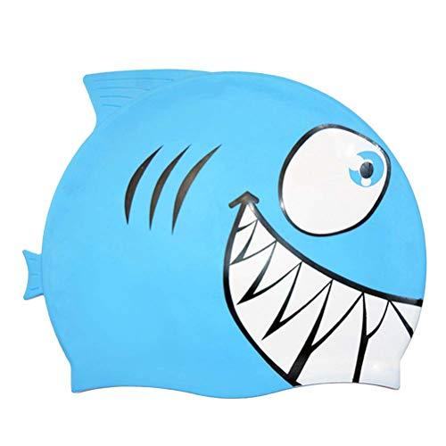 Vosarea Gorro de baño para niños Gorro de baño para bebés de tiburón y pequeños Peces de Silicona (tiburón, Azul Cielo)