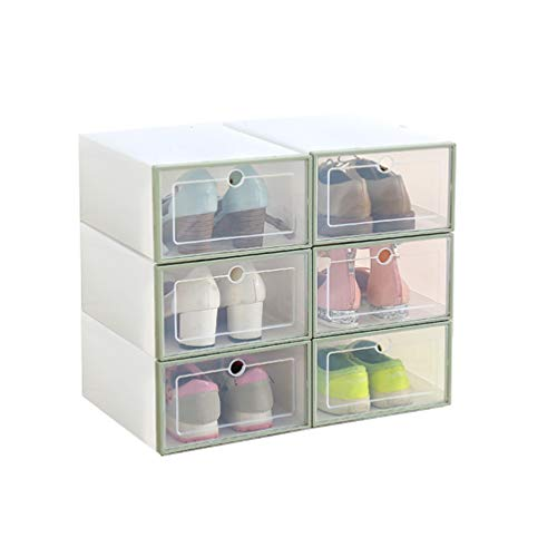 Romancemit Caja de almacenamiento de zapatos, 6 piezas cajas de zapatos de plástico apilable plegable Inicio Organizador de zapatos para hombres/mujeres de gran tamaño