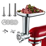 Metal Food Grinder Attachments for KitchenAid Stand Mixers, Attachment Included 3 Sausage Stuffer Tubes, 2 Grinding Blades, 4 Grinding Plates, Durable Food Grinder Attachment for kitchenAid
