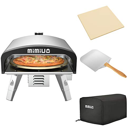 "Mimiuo Portable Gas Pizza Oven with 13"" Pizza Stone & Foldable Pizza Peel - Stainless Steel Gas Pizza Grilling Kit with Automatic Rotation System (Tisserie G-Oven Series) - Global Patent"