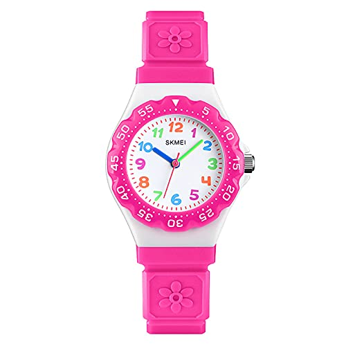 Uhr Kinder, Sport Modische Kinderuhr Mädchen zum Lernen, Analog Quarz Armbanduhr mit Silikon Armband,Einfach-Lesen Uhren mit Zeiger Geschenk für Kids