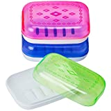 DecorRack 3 Multicolor Plastic Soap Holder with Draining Holes, Decorative Soap Cases, Unique Design to Store and Dry Bar Soaps, Travel Size Case for Bathroom, Kitchen, Gym, Outdoor, (Set of 3)