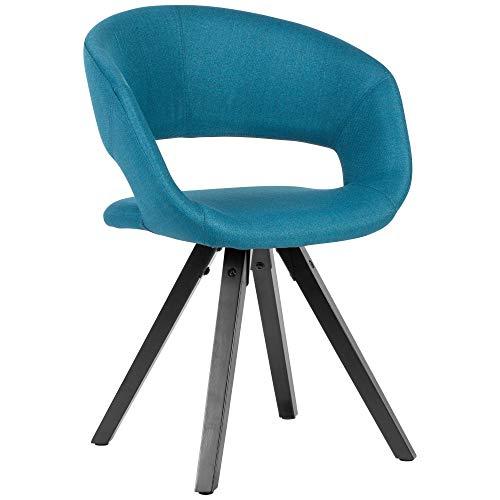 FineBuy Esszimmerstuhl Petrol Stoff mit schwarzen Beinen Retro Stuhl | Küchenstuhl mit Lehne | Polsterstuhl Maximalbelastbarkeit 110 kg