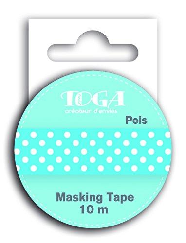 DRAEGER PARIS 1886 MT30 Masking Tape - Pois, Washi, Blanc/Bleu, 5,5 x 7 x 1,5 cm