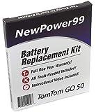 Kit de repuesto de batería para TomTom GO 50 Series (GO 50, GO 50S, GO 51) GPS con instrucciones de vídeo, herramientas especiales y batería de larga duración
