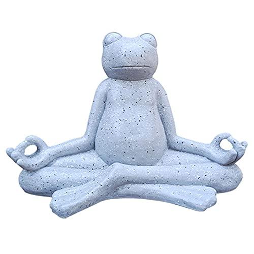 QXX Peace Frog Figurine meditando la Estatua de Rana, figurilla de Yoga Animal Zen para jardín Interior y Zen para decoración