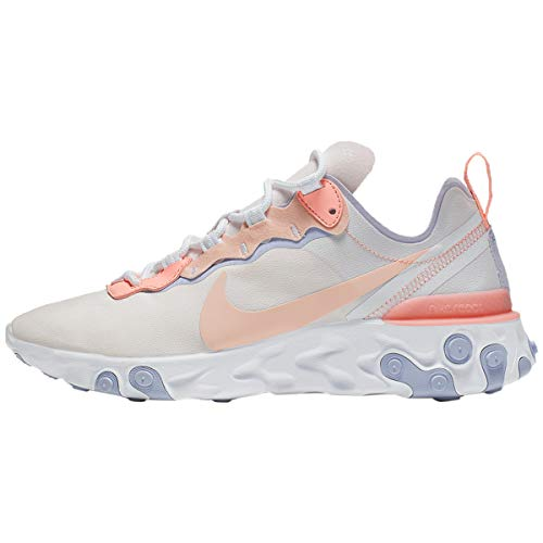 Nike W React Element 55, Zapatillas de Atletismo para Mujer, Multicolor (Pale Pink/Washed Coral/Oxygen Purple 000), 38 EU