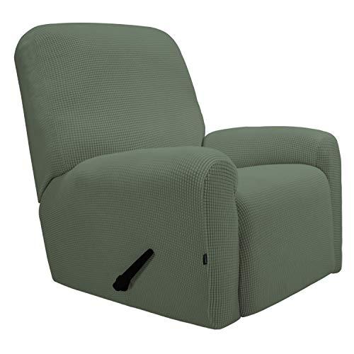 Greatime Stretch Sofabezug Sofaüberwurf Möbelschutz Sofaüberzug Couchbezug Couch Schild Sofahusse Weich mit Gummiband Schaumstreifen (Fernsehsessel, Gräulich Grün)
