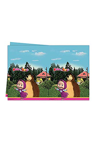 Procos 86515 - Tovaglia plastica Masha e Orso 120x180 cm)