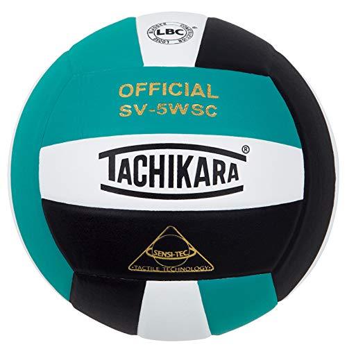 Tachikara Sensi-Tec Composite Colorful High Performance VolleyBall, Teal-White-Bk