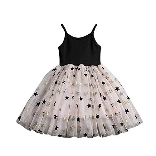 EZ Tuxedo Little Girls Dress with Black Camisole Star Print Mesh Skirts for 3Y 8Y
