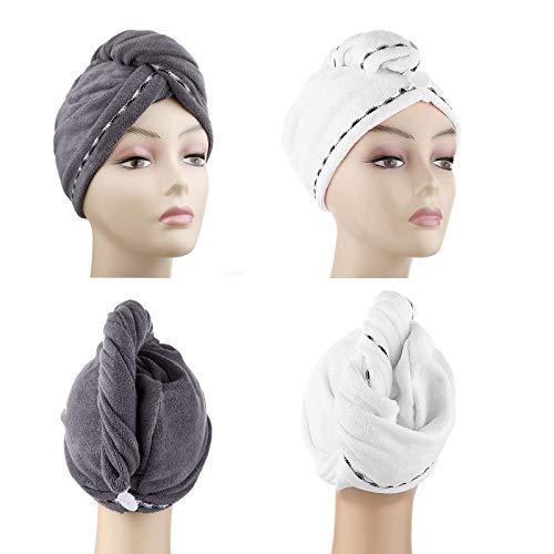 DHMAKER Toalla Turbante de Microfibra Absorbente para un rápido ,Secado de Pelo (Paquete de Toallas, 2 Unidades,Blanco + gris oscuro, ca. 28x65 cm),Todo Tipo de Cabello