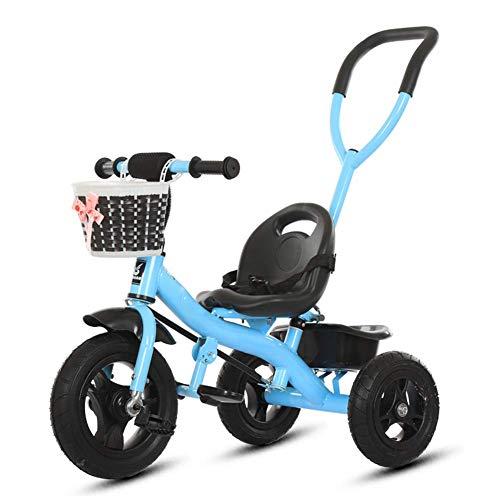 HYLH Kinder Trike GrüN, Baby Dreirad Kinderwagen 2 In1-Helle Und Farbenfrohe Design Mit Sicheren Design - Alter 1-3-5, Blue